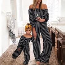 Sexy Off-shoulder Boat Neck High Waist Striped Parent-child Jumpsuit