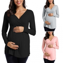 Fashion Solid Color Long Sleeve V-neck Maternity T-shirt