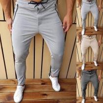 Fashion Solid Color Drawstring Waist Man's Sports Pants