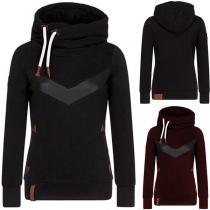 Fashion PU Leather Spliced Long Sleeve Hooded Sweatshirt