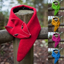 Cute Fox Shaped Solid Color Scarf