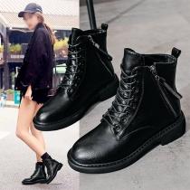 Fashion Flat Heel Round Toe Lace-up Martin Boots