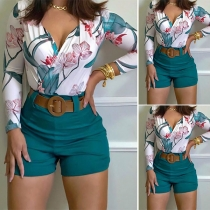 Sexy V-neck Long Sleeve Printed Top + Shorts Two-piece Set(Without belt)