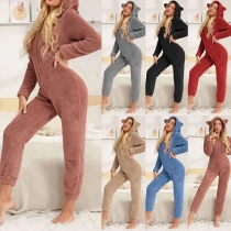 Cute Style Long Sleeve Hooded Plush One-piece Nightwear