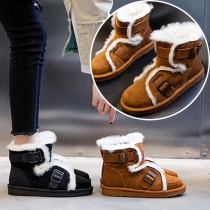 Fashion Flat Heel Round Toe Plush Lining Snow Boots