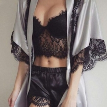 Sexy Lace Spliced Shorts + Sling Crop Top + Robe Nightwear Three-piece Set