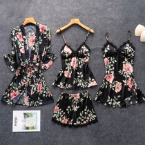 Sexy Lace Spliced Sling Top + Shorts + Sling Dress + Robe Nightwear Four-piece Set