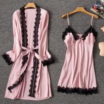 Sexy Lace Spliced Sling Dress + Robe Nightwear Two-piece Set