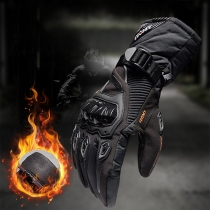 Fashion Contrast Color Plush Lining Motorcycle Bicycle Riding Gloves