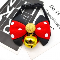 Sweet Style Contrast Color Dots Printed Pets Bow Tie