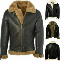 Fashion Faux Fur Spliced Long Sleeve POLO Collar Plush Lining Man's PU Leather Coat