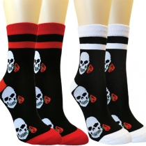 Fashion Contrast Color Skull Head Printed Socks