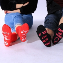 Chic Style Wine Glass Letters Printed Socks