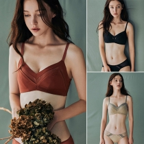 Simple Style Solid Color Gauze Spliced Push-up Wireless Bra
