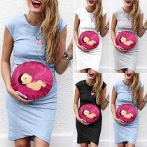 Cute Baby Printed Cap Sleeve Round Neck Maternity Dress