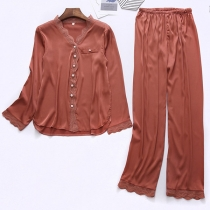 Fashion Solid Color Long Sleeve V-neck Top + Pants Nightwear Set