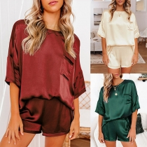 Simple Style Short Sleeve Round Neck Top + Shorts Pajamas Home-wear Set