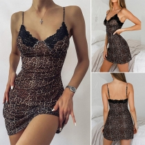 Sexy Backless V-neck Lace Spliced Leopard Printed Sling Nightwear Dress