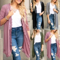 Fashion Solid Color Half Sleeve Lace Spliced Thin Cardigan