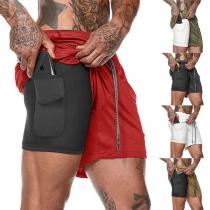 Fashion Elastic Waist Man's Sports Shorts
