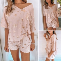 Fashion Sequin Star Spliced Half Sleeve T-shirt + Shorts Home-wear Set