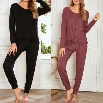 Fashion Solid Color Twisted Hem T-shirt + Pants Home-wear Set