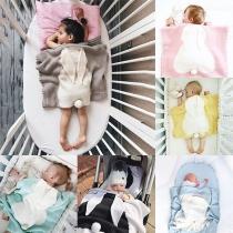Cute Contrast Color Rabbit Ear Shaped Plush Blanket for Babies