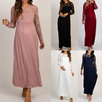 Fashion Solid Color Long Sleeve Round Neck Lace Spliced Maternity Dress
