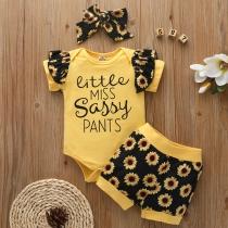 Cute Style Sunflower Printed Short Sleeve Bodysuit + Shorts + Headband Three-piece Set for Kids