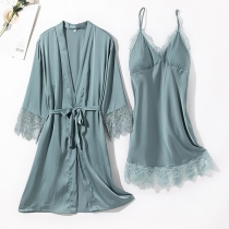 Sexy Backless V-neck Lace Spliced Sling Nightwear Dress + Robe Two-piece Set