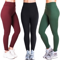 Simple Style High Waist Solid Color Stretch Leggings
