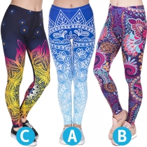 Fashion High Waist Colorful Printed Stretch Leggings