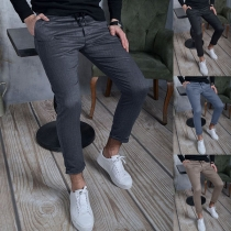 Simple Style Solid Color Middle Waist Man's Casual Pants