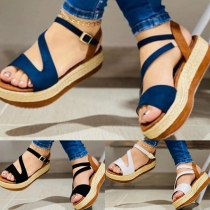 Fashion Contrast Color Thick Heel Open Toe Sandals