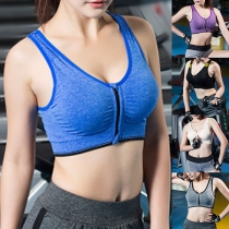 Fashion Solid Color Front-zipper Sports Bra