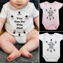 Casual Style Short Sleeve Round Neck Letters Printed Baby Romper Bodysuit
