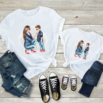 Simple Style Short Sleeve Round Neck Mom&Son Printed Parent-child T-shirt