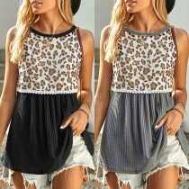 Fashion Leopard Printed Spliced Sleeveless Round Neck Loose T-shirt Top