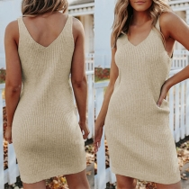 Sexy Backless Sleeveless V-neck Solid Color Slim Fit Knit Dress