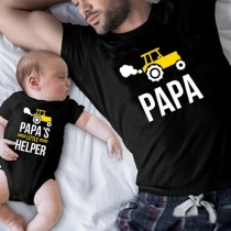 Casual Style Car PAPA Letters Printed Short Sleeve Parent-child T-shirt