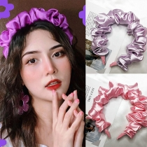 Sweet Style Solid Color Bubble Wrinkled Large Intestine Head-band 2 Piece Set