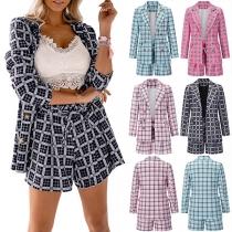 OL Style Long Sleeve Slim Fit Plaid Blazer + Shorts Two-piece Set