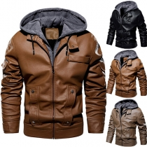 Fashion Solid Color Long Sleeve Hooded Man's PU Leather Coat