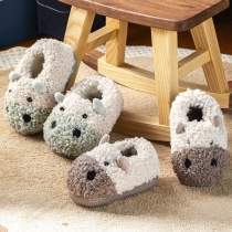 Cute Style Contrast Color Animal Shape Anti-slip Plush Baby Slippers