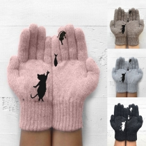 Cute Style Cat & Fish Pattern Outdoor Cold-proof Knit Gloves