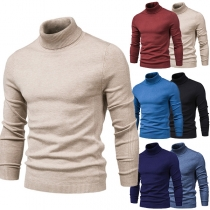 Fashion Solid Color Long Sleeve Turtleneck Man's Knit Top
