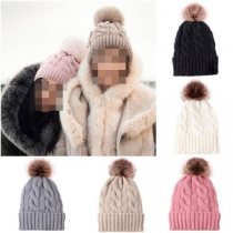 Fashion Solid Color Hairball Spliced Knit Beanies