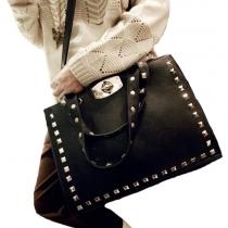 Retro Punk Style Black Rivet Motorcycle Handbag Crossbody Bag